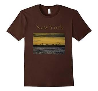 Men's Manhattan Skyline Sunset T-Shirt 3XL Brown