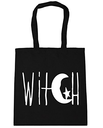 Star Tote Beach and Shopping Bag Design Witch 10 42cm Black litres Moon Crescent x38cm HippoWarehouse Gym npqz0