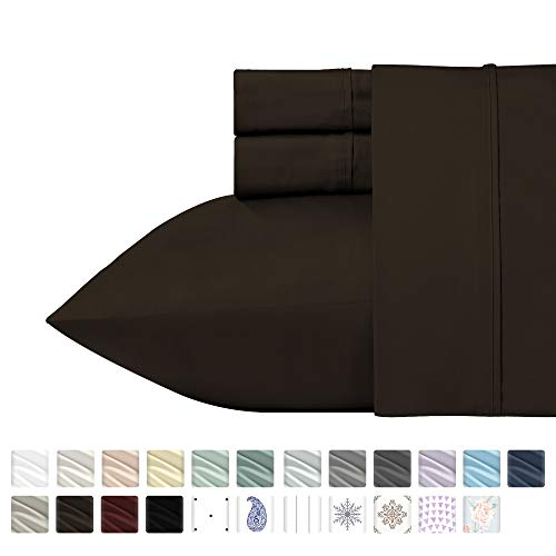 (California Design Den 400 Thread Count 100% Cotton Sheet Set, Chocolate Brown California King Sheets, 4 Piece Set Long-Staple Cotton Bedsheets, Breathable, Soft Sateen Weave Sheet Sets)