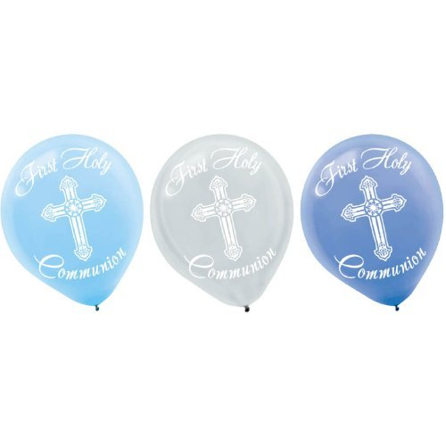 First Holy Communion Blue Latex Balloons - 15]()