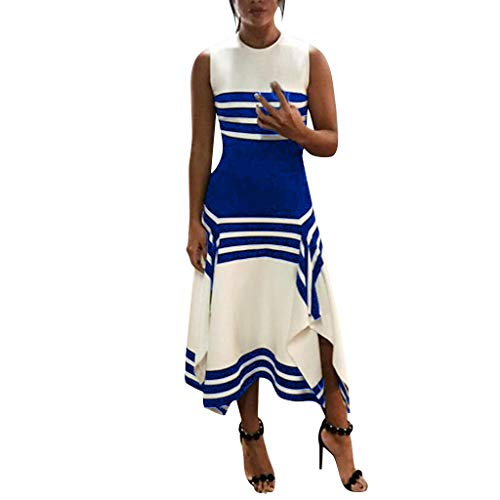 Womens Summer Sleeveless Striped Ruffles Irregular Hem Dresses Elegant Round Neck Midi Work Party Dress Blue