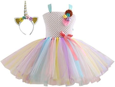 BESTOYARD Vestido de Unicornio Rainbow Tutu para Niña con Diadema ...