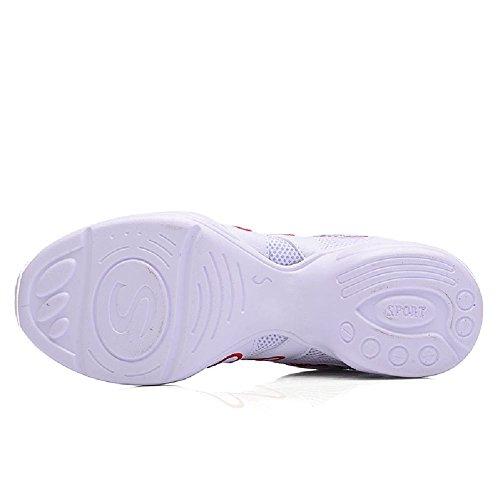 D2c Bellezza Donna Maglia Jazz Suola Morbida Scarpe Da Ballo Sport Sneakers Bianche