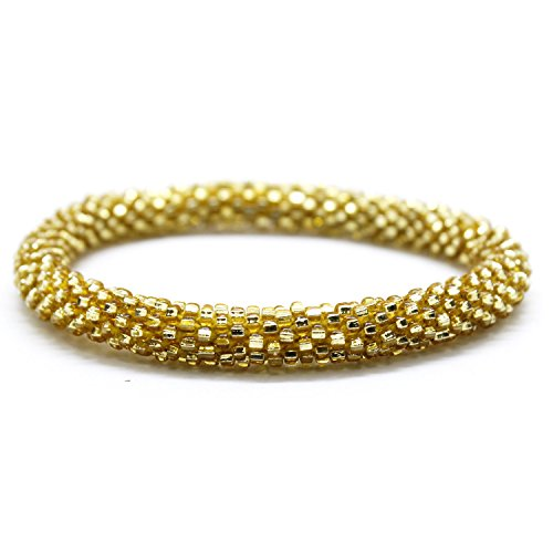 Fair Trade Glass Beaded Bracelet - Aid Through Trade Beaded Roll-on Bracelet - Assorted Colors (Gold-tone Metallic Solid)