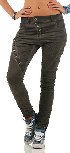 Lexxury Women's Boyfriends Baggy Stretch Jeans Destroyed Look Women's Trousers Hipster Denim Button L18124-4 Grey