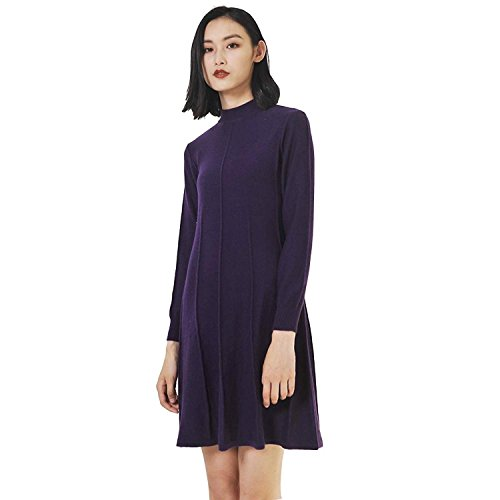 VenuStar Womens Cashmere Sweater Dress Wool Cashmere Blending Mock Neck Casual Loose Outwear (L, Purple) (Silk Blend Mock Neck)