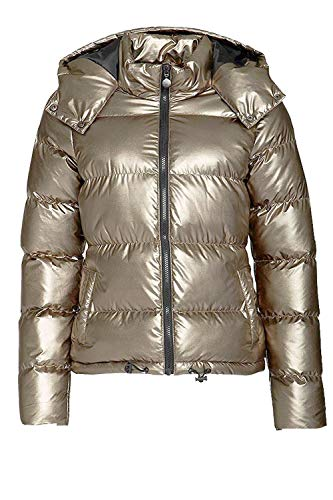 (Womens Lightweight Outwear Coats Lightweight Water-Resistant Hooded Down Metallic Bomber Nightclub Party Jacket (2XL, Khaki))