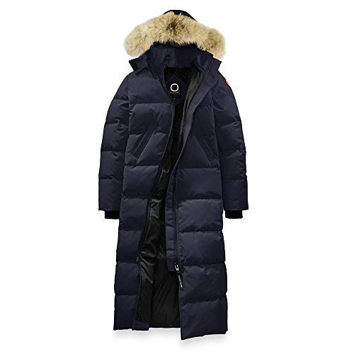 Women's Canada Mystique Winter Snow Long Long Navy Duck Down Parka Coat -(L)