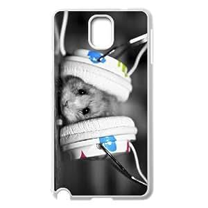 Jackalondon Cute Hamster & Earphones Samsung Galaxy Note 3 Cases Cute Earphones for the Hamster, [White]