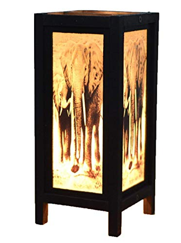 NAVA CHIANGMAI Decorative Lamp Handmade African Elephant Bedside Table Light Floor Wood Paper Lamp Shades Home Bedroom Garden Decoration Modern Design