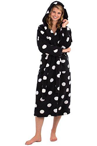 VEAMI Women's Warm Fleece Bathrobe with Hood-Obsidian Charm-Medium, Long