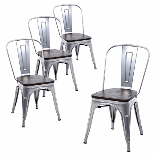 Buschman Set of Four Gray Wooden Seat Tolix-Style Metal Indoor/Outdoor Stackable Chairs with Back