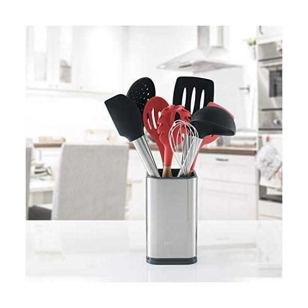 """Stainless Steel Kitchen Utensil Holder, Kitchen Caddy, Utensil Organizer, Modern Rectangular Design, 6.7"""" by 4… 5"""