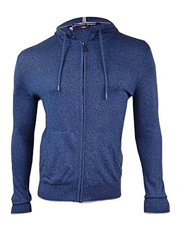 Michael Kors Men's Marled Knit Zip-Front Hoodie (M, Midnight Marl) - Michael Kors Zip Cardigan