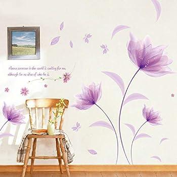 Sworna Nature Series 3d Romantic Purple Flowers Removable Vinyl Diy Mural Wall Decor Decals For Living Room Bedroom Hallway Sitting