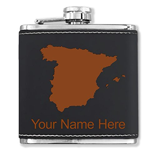 Faux Leather Flask - Country Silhouette Spain - Personalized Engraving Included (Black) by SkunkWerkz