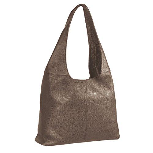 Nappaleder Handtasche MAYA taupe - (T 8307 TAUPE)
