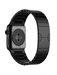 Apple Watch Band, JETech 42mm Stainless Steel Link Bracelet with Butterfly Closure Band (Black) - 2219