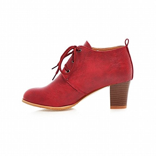 Carolbar Mid Fashion Red Lace up Heel Boots Retro Wine Charms Womens Chunky Ankle Vintage rSrqp4