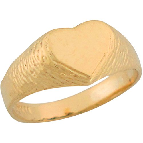 14k Yellow Gold Large Heart Signet Cute Kids Ring