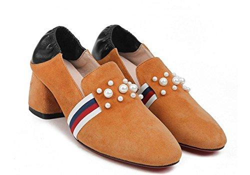 Nbwe Voorjaar En De Zomer Ruwe Hak Loafers Kleuraanpassing Leer Parel Schoenen Van Mary Jane Caramel