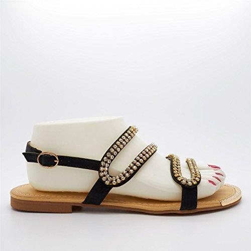 London Footwear - Zapatos con correa de tobillo mujer Negro - negro