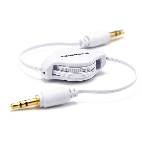 Monoprice 106754 2.5-Feet Retractable Audio Cable - White