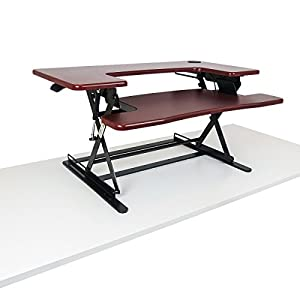 PREMIUM Adjustable Height Cherry Wood Standing Desk | Deep Keyboard Tray Fits Laptops | 35 Inch Wide Stand Up Desk | Supports Dual Monitors and Monitor Stands
