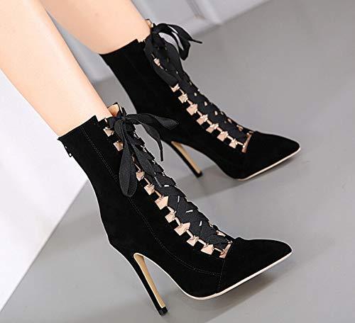 ZHRUI Riemchen Stiefel Frauen Frauen Frauen Spitz High Heel Large Größe Pumps (Farbe   Schwarz, Größe   EU 39) 80d7a1