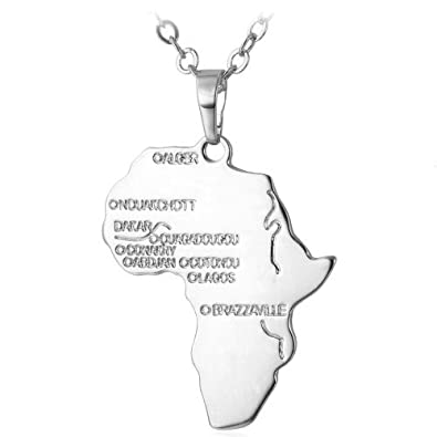 Silver africa necklace pendant 22 inch chain amazon jewellery silver africa necklace pendant 22 inch chain aloadofball Image collections