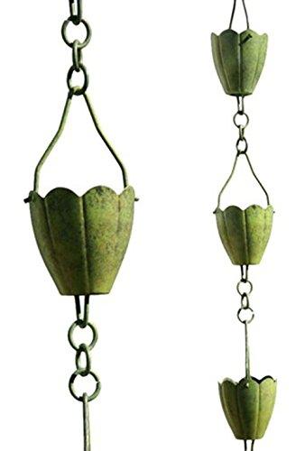 NACH AO-2862 Stylish Decorative Metallic Rain Chain Bucket, Gutter Downspout Replacement, 8 Feet Long, Iron, Flower (Downspout Replacement)