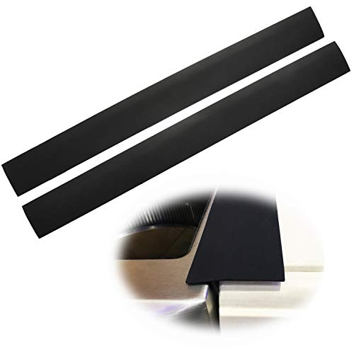 Silicone Stove Counter Gap Cover Kitchen Counter Gap Filler by Kindga 25'' Long Gap Filler Sealing Spills Between Kitchen Appliances Washing Machine and Stovetop, Set of 2(Black) - Trim Side Countertop