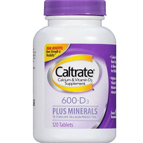 Caltrate 600+D3 Plus Minerals (120 Count, Pack of 2) Calcium & Vitamin D3 Supplement Tablet, 600 mg