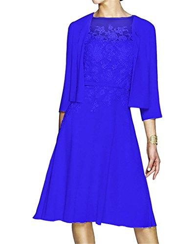 Kurz Bolero Applikationen Königsblau Damen Line Jacke Mutter der HWAN A mit Kleid Braut wHASnB