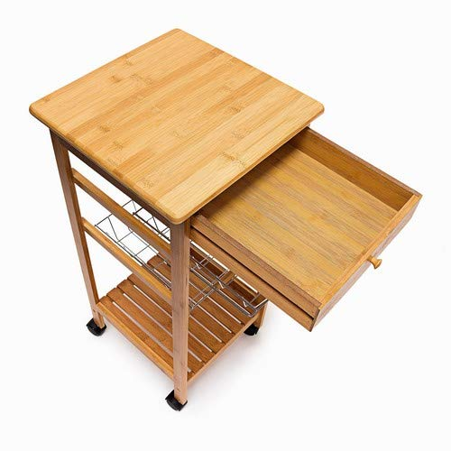 Natural Small 80.5 x 37 x 37 cm Serving Cart With Drawer And 2 Metal Baskets Rolling Kitchen Trolley Wooden With 2 Trays Relaxdays JAMES Bamboo Kitchen Island Size