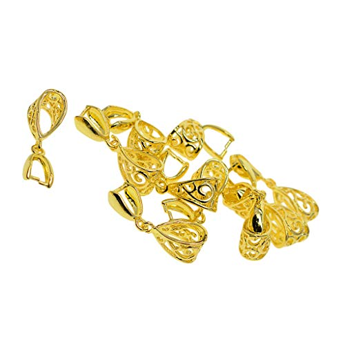 Prettyia 10Pcs Copper Pinch Clasp Bails Dangle Charms Connectors, Golden Tone Jewelry Findings for Pendant Making 26x9x7mm
