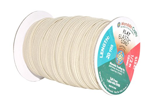 Mandala Crafts Flat Elastic Band, Braided Stretch Strap Cord Roll for Sewing and Crafting (1/2 Inch 12mm 20 Yards, Cream)