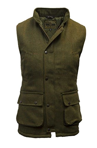 Walker and Hawkes Men's Derby Tweed Shooting Waistcoat Country Gilet Large Dark Sage