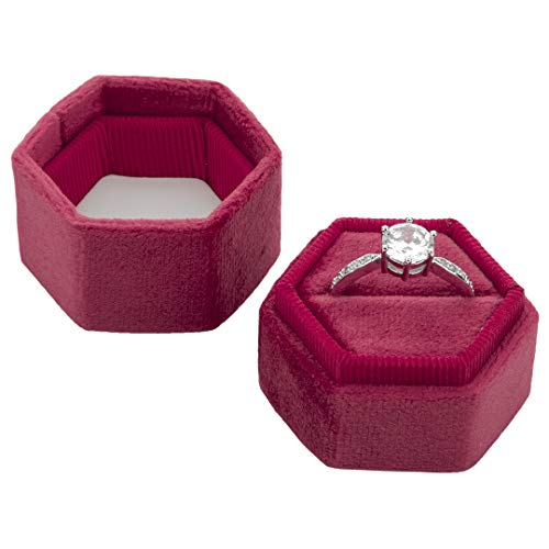 Koyal Wholesale Velvet Ring Box, Hexagon Vintage Wedding Ceremony Ring Box with Detachable Lid, 2 Piece Engagement Ring Box Holder, Modern Proposal Idea (Berry) (Idea Box)