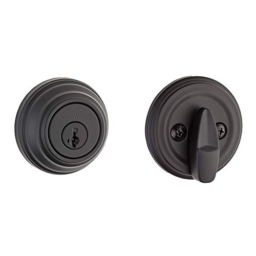 Iron Finish Entry - Kwikset 99800-0097 980 Single Cylinder Traditional Round Deadbolt Door Lock Set featuring SmartKey Security in Iron Black
