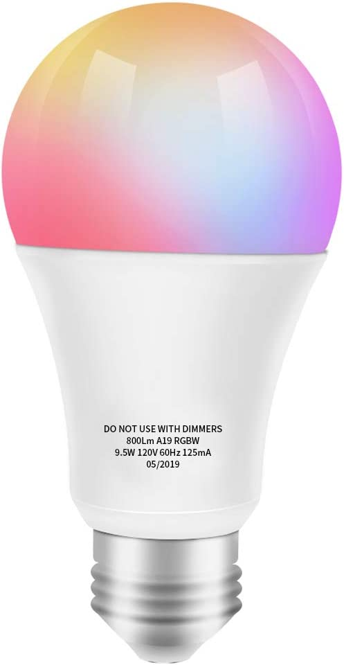 Smart LED Bulb Color Changing Light Bulb Compatible with Alexa, Google Home (No Hub Required), A19 WiFi Bulb E26 60W Equivalent, RGB White 2700K Dimmable Color Smart Bulb, 9.5W UL Listed KULED
