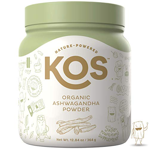 KOS Organic Ashwagandha Powder - Premium Raw Ashwagandha Root Powder USDA Vegan Plant Based Ingredient, 364g (12.84oz)