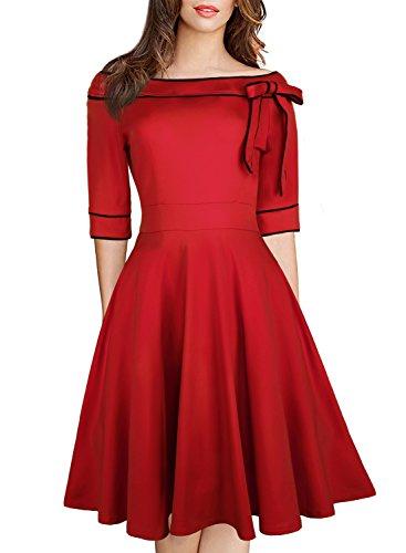 Wiggle Dress for Women's Elegant Off Shoulder Casual Dress 60s Ladies Half Sleeve Vintage A Line Work Swing Dress for Party 188 (L, Burgundy) (Dress A-line 1960s Vintage)