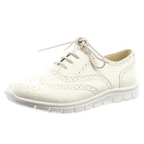 Sopily - Zapatillas de Moda Zapato acento Tobillo mujer perforado cordones Talón Tacón ancho 2 CM - Blanco