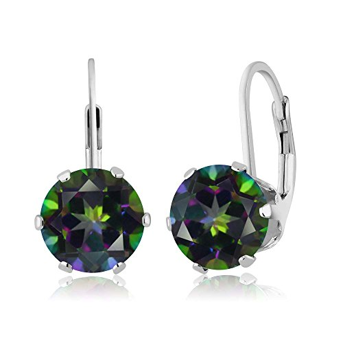 5.40 Ct Round Mystic Topaz 925 Sterling Silver 6-prong Leverback Women's Earrings (Mystic Topaz Drop)