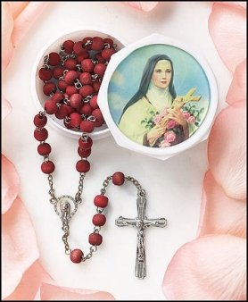 St. Therese Rose Scented Rosary in Case
