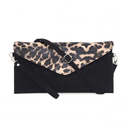 Women's Faux Suede evening Clutch bag shoulder Handbag messenger envelope bags (Leopard PU) (Leopard Clutches)