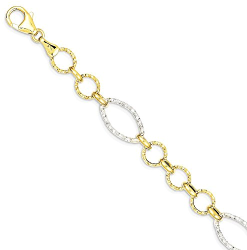 ICE CARATS 14k Two Tone Yellow Gold Round Oval Link Bracelet 7.50 Inch Chain Fancy Fine Jewelry Gift Set For Women Heart