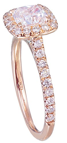 GIA I-VS2 14k rose gold cushion cut diamond engagement ring deco halo 1.60ct