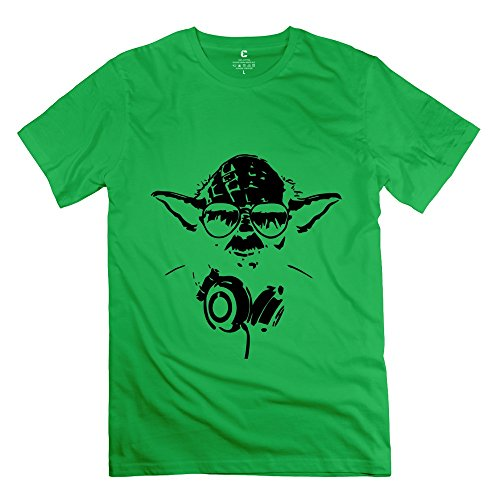 TGRJ Men's T Shirts - Classic Yoda Headphones Tee ForestGreen Size S